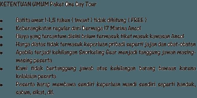 Ketentuan Umum Paket Wisata 1 Hari dari Marina Ancol